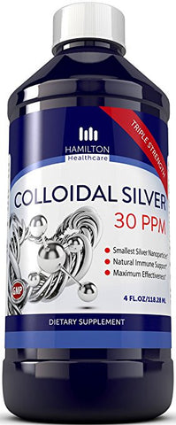 Colloidal Silver 30ppm - Ultra Pure With Smallest Silver Nanoparticles By Hamilton Healthcare