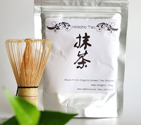 100% Pure Organic Matcha Green Tea with FREE Traditional Chasen Bamboo Whisk - 100g Bag