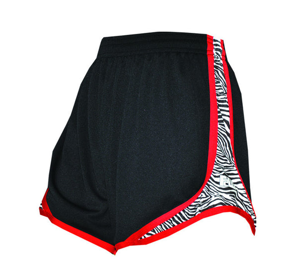 Womens Split Shorts black with red and zebra sides - Annapolis Running Shop