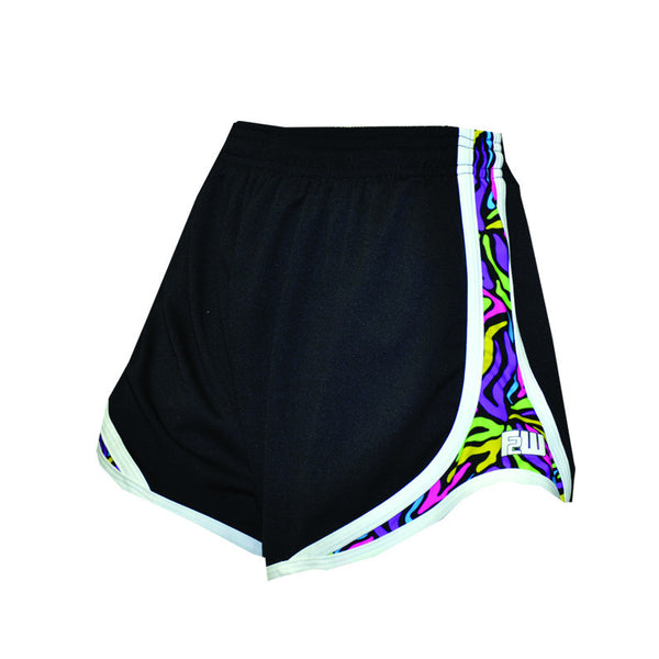 Womens Split Shorts black with colorful sides - Annapolis Running Shop