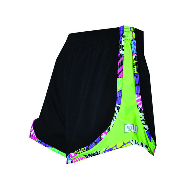 Womens Split Shorts black neon green sides - Annapolis Running Shop