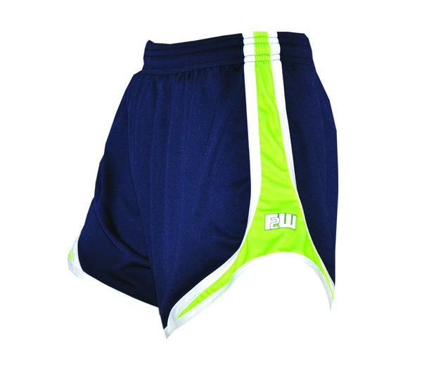 Womens Split Shorts navy with lime sides - Annapolis Running Shop
