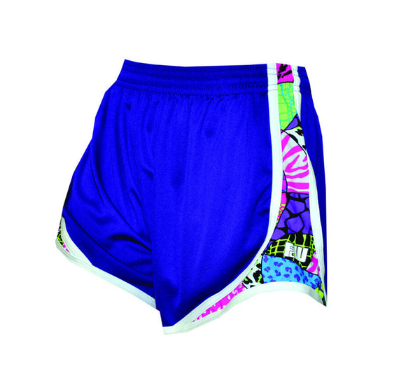 Womens Split Shorts purple with psychedelic side colors - Annapolis Running Shop