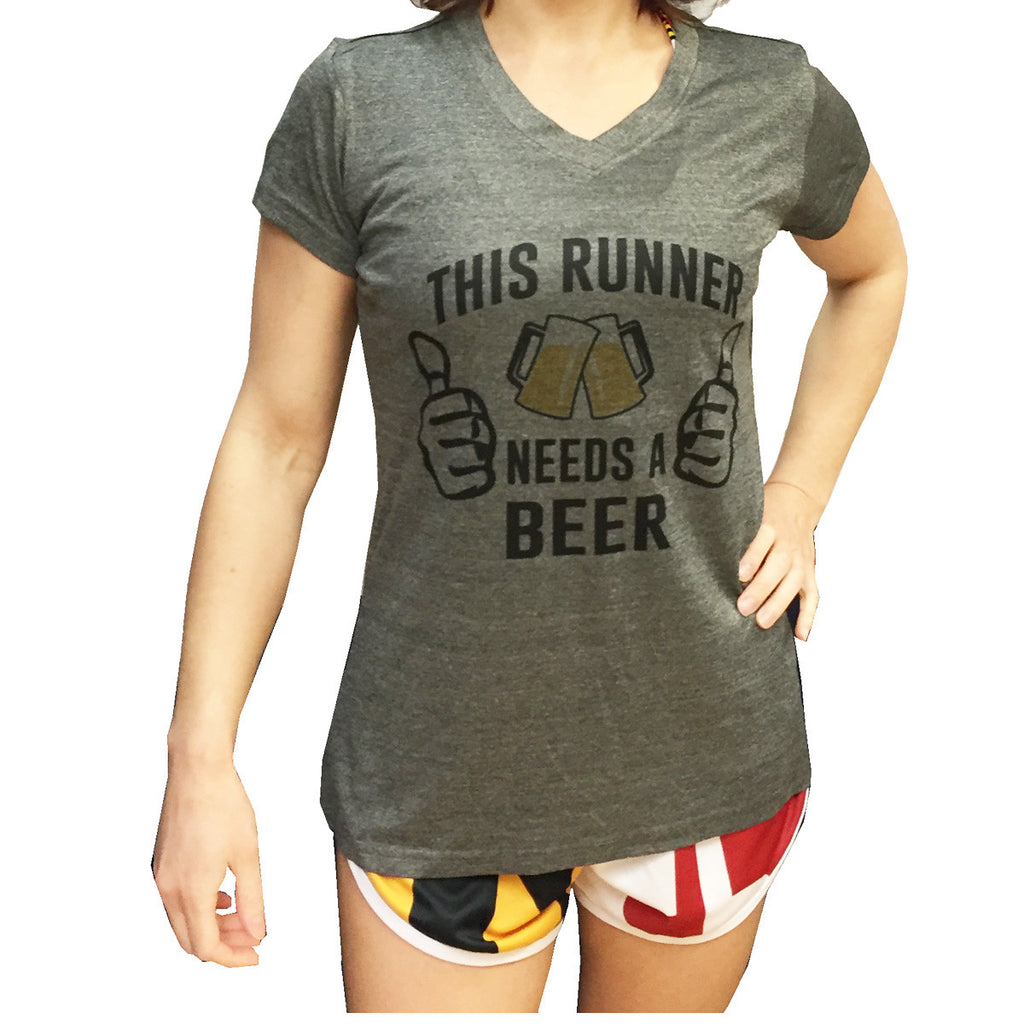 This Runner Needs a Beer Women's V-Neck Technical Tee