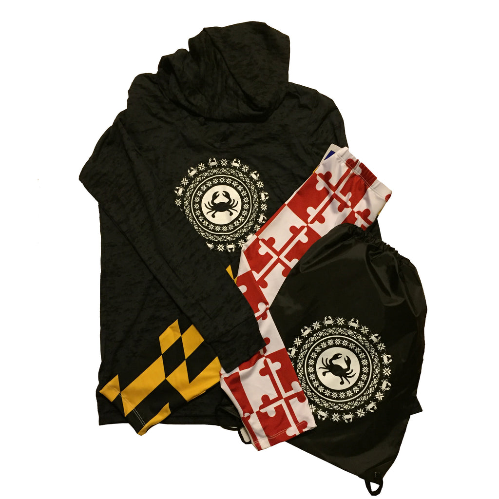 Gift Set Maryland Flag Athletic Running Capri Tights/hoodie/bag