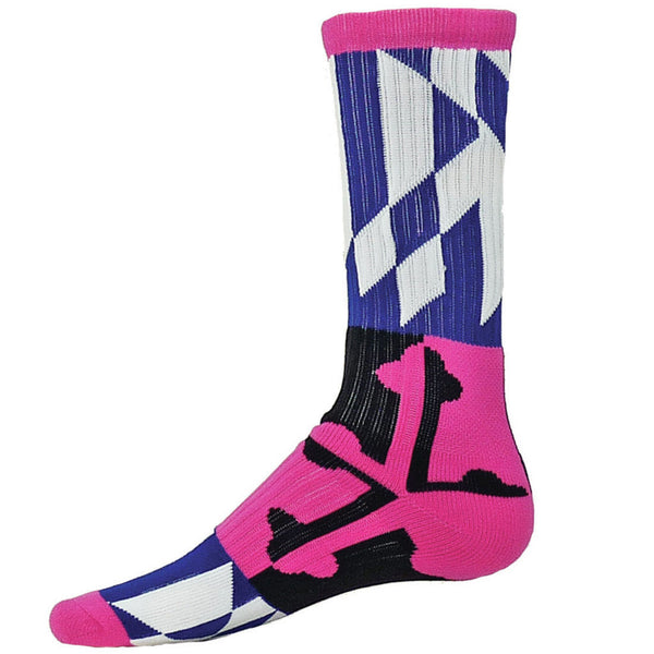 Maryland Flag Athletic Running Socks Pink Multi - Annapolis Running Shop
