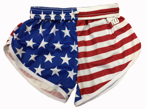 Womens American Flag Split Shorts - Annapolis Running Shop
