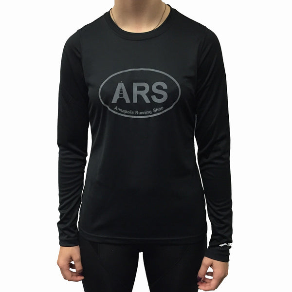 Women's Brooks ARS L/S Technical T-Shirt - Black with Reflective Ink