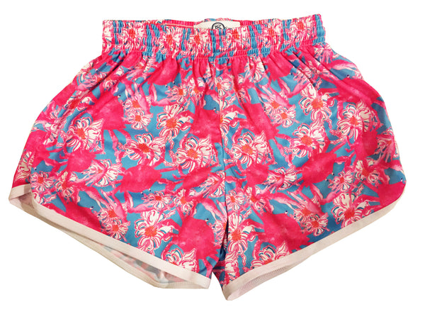 Womens Pink Crab Split Shorts Artist
