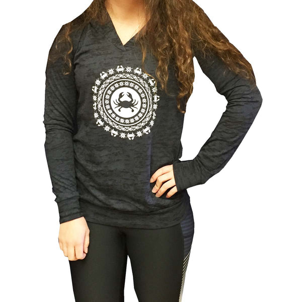 Crab Burnout Hoodie with celestial crabby design-Black - Annapolis Running Shop