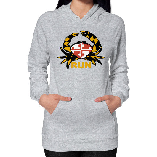 Hoodie (on woman) Heather grey Annapolis Running Shop