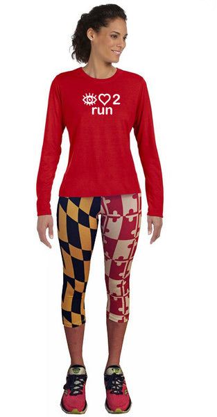 ARS I love 2 Run LS technical running tee- Womens - Annapolis Running Shop