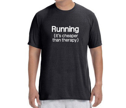 "Men's Short Sleeve Performance ""Running - It's Cheaper Than Therapy"" T-Shirt"