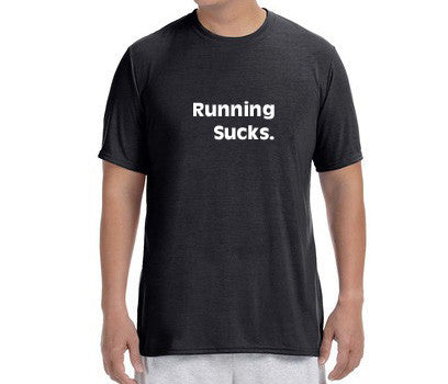 "Men's Short Sleeve Performance ""Running Sucks"" T-Shirt"