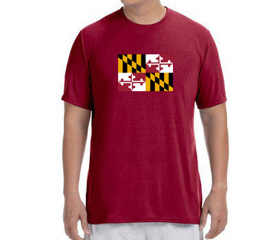"Men's Short Sleeve Performance ""Maryland Flag"" T-Shirt - Annapolis Running Shop"