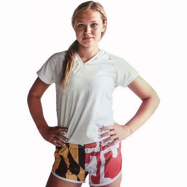 Womens Maryland Flag Split Shorts - Annapolis Running Shop