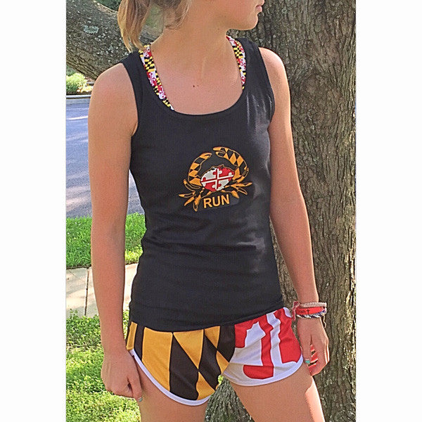 Maryland Flag Women's Crabby Runner -Tank - Annapolis Running Shop