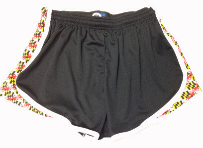 Womens Maryland Flag Split Shorts-black - Annapolis Running Shop