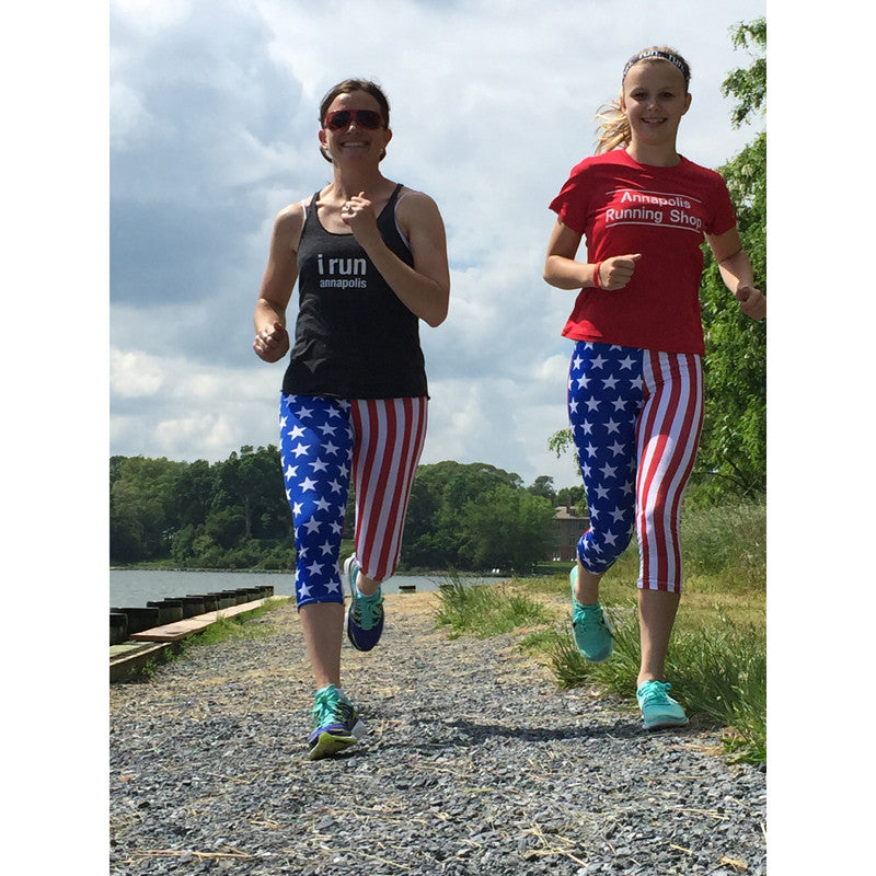 usa american flag running capri tights