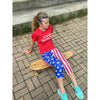 usa patriotic flag running tights