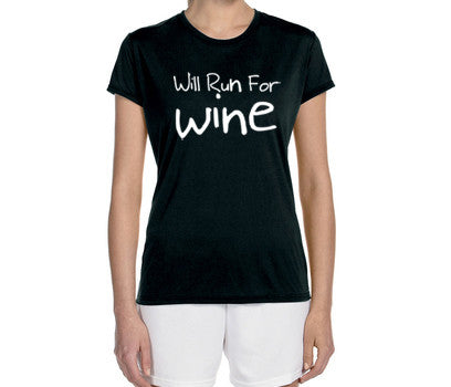 "Women's Short Sleeve Performance ""Will Run For Wine"" T-Shirt - Annapolis Running Shop"