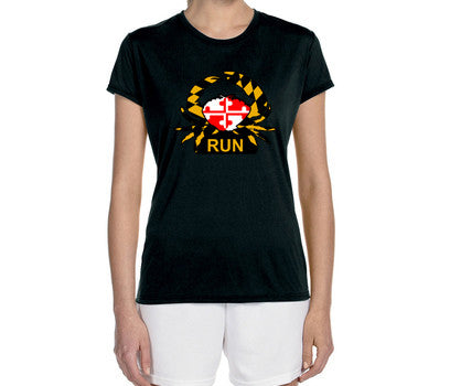 "Women's Short Sleeve Performance ""Maryland Crabby Runner"" Technical T-Shirt - Annapolis Running Shop"