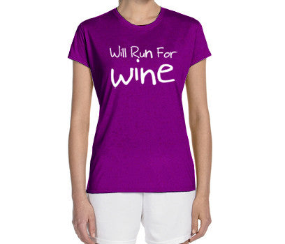 will run for wine t-shirt womens