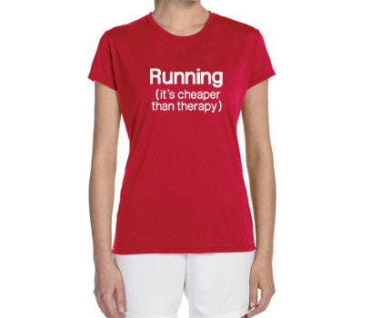 "Women's Short Sleeve Performance ""Running - It's Cheaper Than Therapy"" Technical T-Shirt - Annapolis Running Shop"