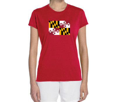 "Women's Short Sleeve Performance ""Maryland Flag"" Technical T-Shirt - Annapolis Running Shop"