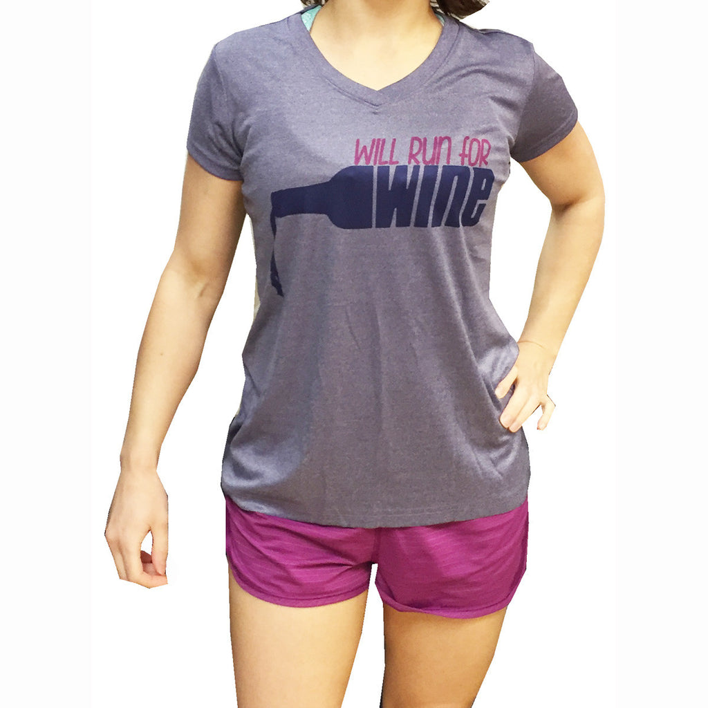 Will Run For Wine Women's V-Neck Technical Tee