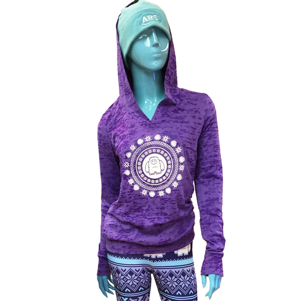 Yeti Burnout Hoodie with celestial snowflake design-Purple