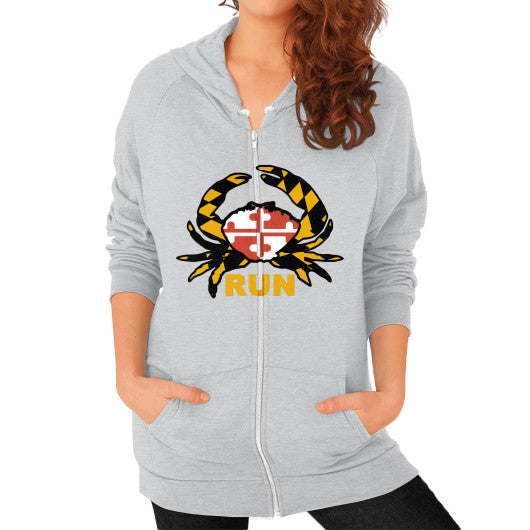 Zip Hoodie (on woman) Tri-Blend Silver Annapolis Running Shop