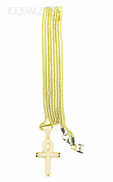 Iced ankh micro Pendant (Gold plate) - IceJewlz - 2