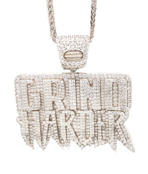Grind Harder Pendant with a chain