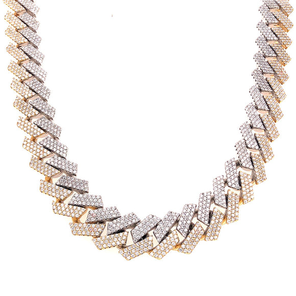 Two-Tone Prong Set Cuban Link Chain