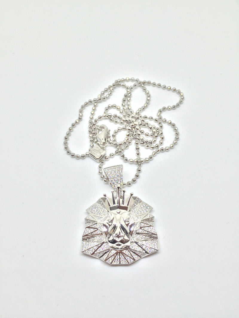 Lion micro pendant (Silver) with chain - IceJewlz - 2