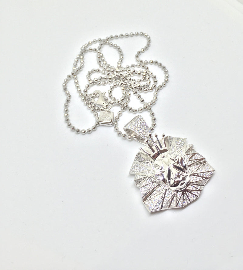 Lion micro pendant (Silver) with chain - IceJewlz - 3