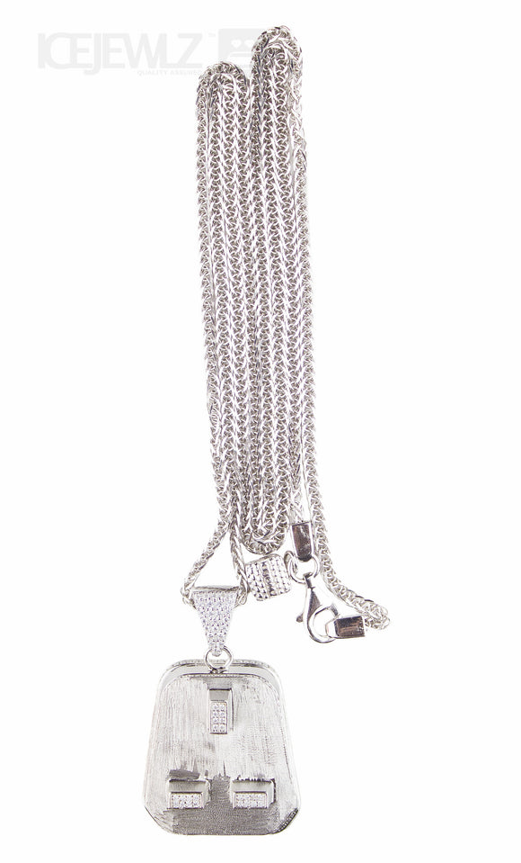 Plug Micro pendant (Silver) with chain - IceJewlz - 1