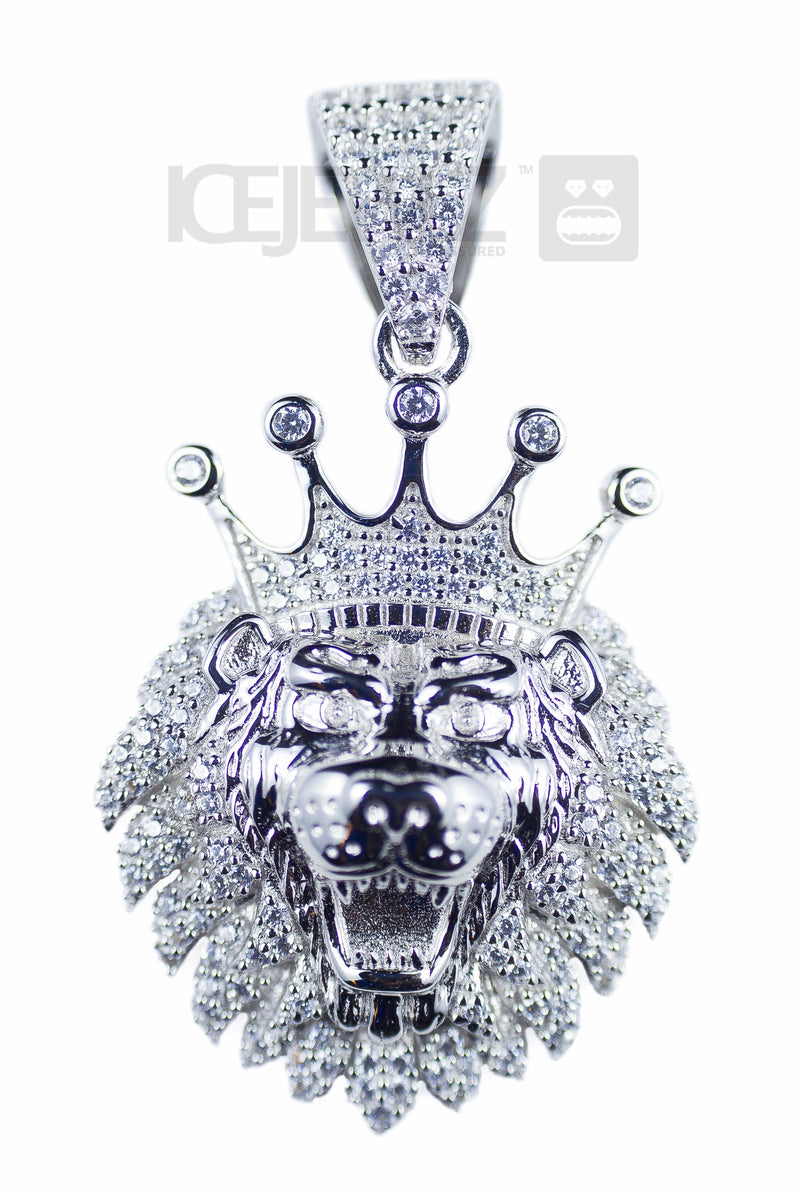 Crowned Lion Micro Pendant (Silver)