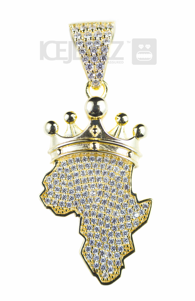 Crowned Africa Micro Pendant (Gold Plate)