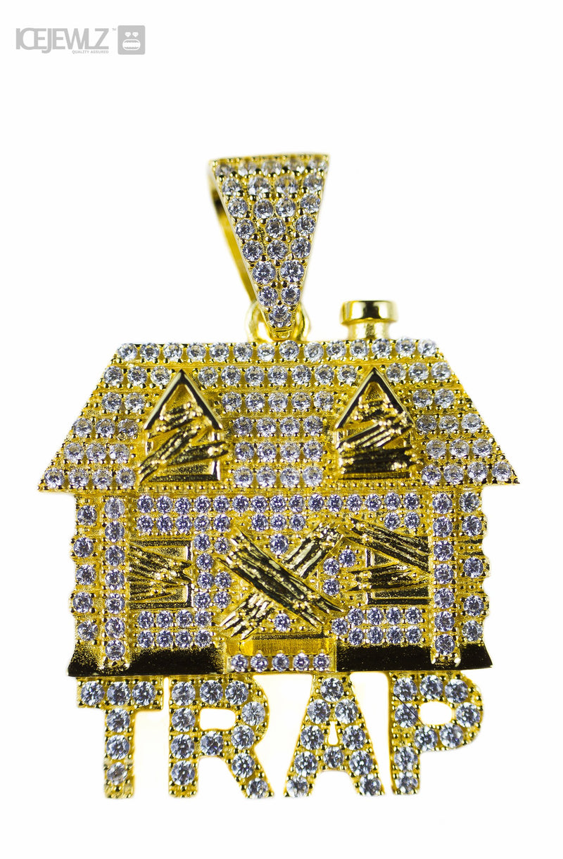 Iced trap house micro pendant (silver)