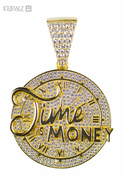 Time Is Money 2 Micro Pendant (Gold plated) with a chain