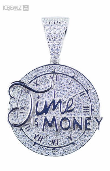 Time Is Money 2 Micro Pendant (White Gold Plated) with a chain