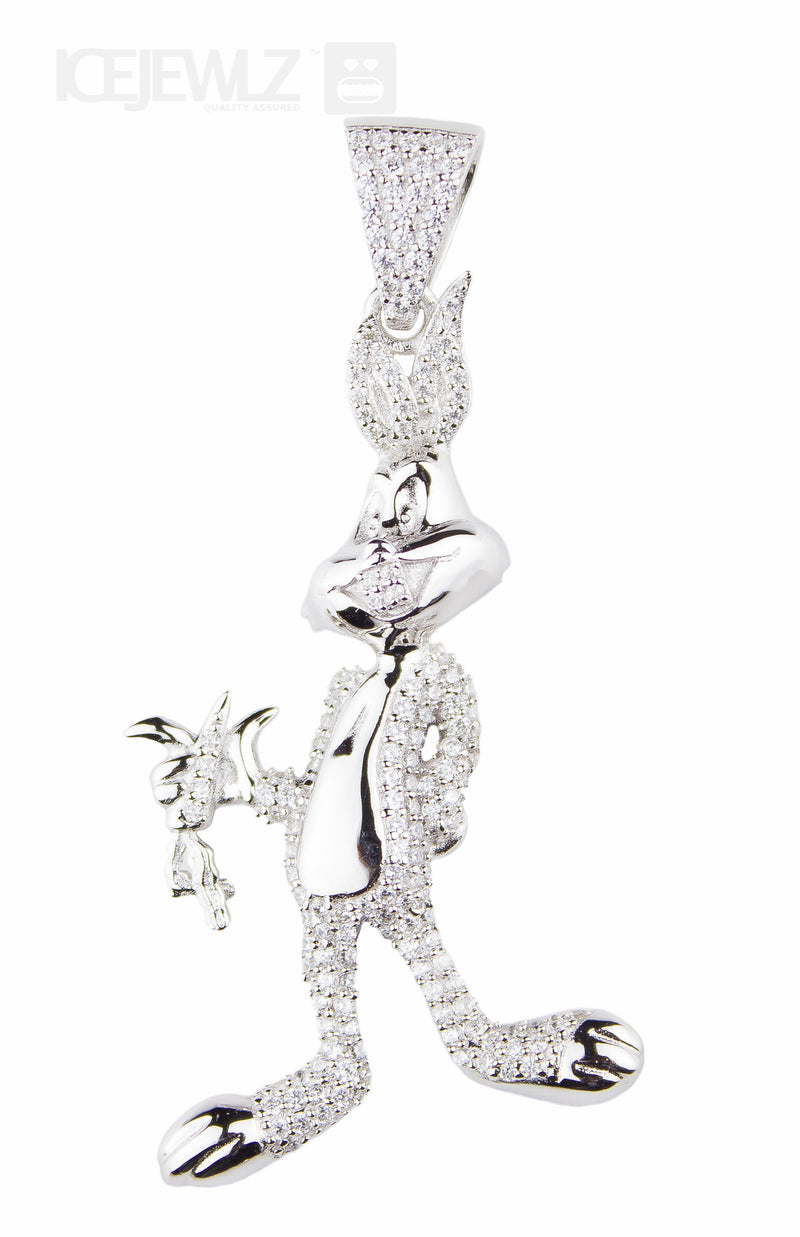Bugs bunny micro pendant (Silver) with chain - IceJewlz - 2