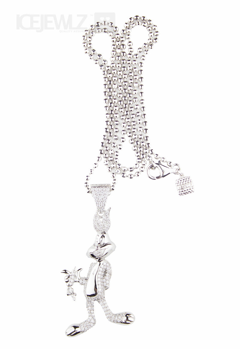Bugs bunny micro pendant (Silver) with chain - IceJewlz - 1