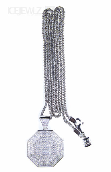 Octagan design Micro Pendant (Silver) with chain