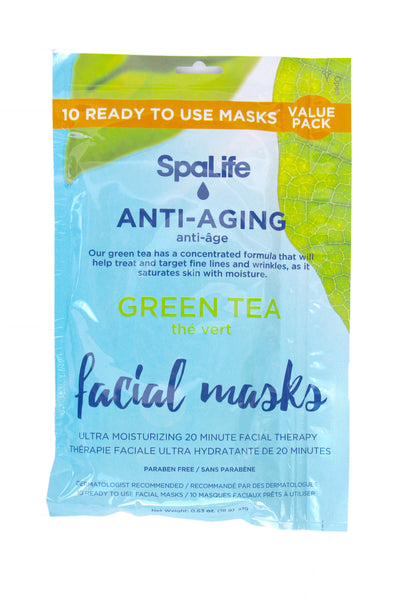 SpaLife - 10 pack Facial Mask - Anti-aging Green Tea Facial Masks - 10 pack