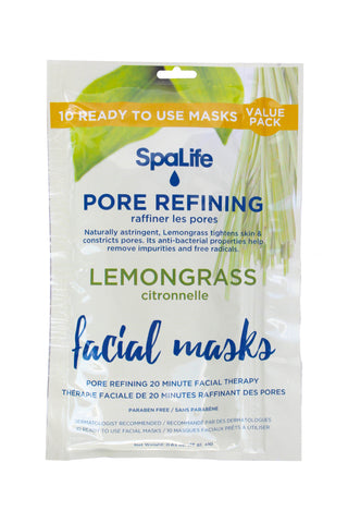 SpaLife - 10 pack Facial Mask - Pore Refining Lemongrass Facial Masks - 10 pack