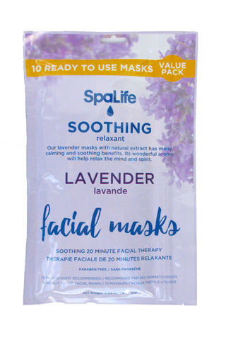SpaLife - 10 pack Facial Mask - Soothing Lavender Facial Masks - 10 pack