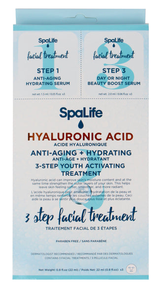 SpaLife -Three Step Facial Treatment with Hyaluronic Acid 3 Pack